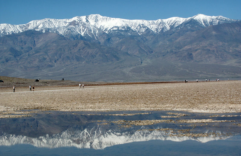 Badwater Basin (Lowest elevation in the US - 282 ft below sea level): Extremely rare to see a lake at this place!<br /> Normal scenery is crusted salt.