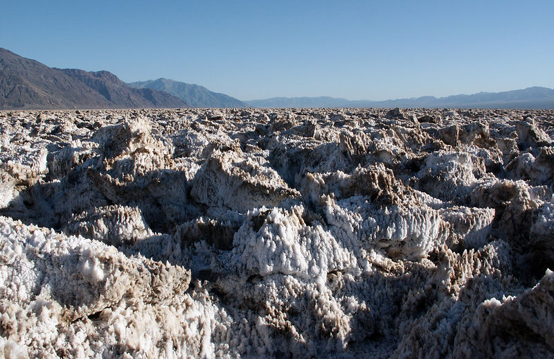 Devil's golf course: The knarled terrain of an ancient evaporated lake contains crystals of almost pure table salt.