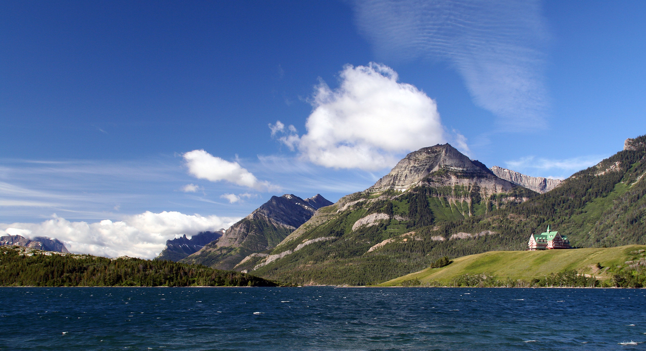 Waterton Lake with Prince of Wales Hotel.