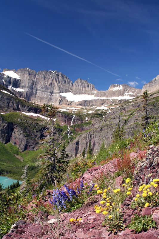 Overview of Grinnel Valley with Grinnell Lake and Glacier.