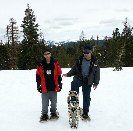 March 2005: Alan and Jonathan getting their first experience at snowshoeing at Badger Pass.