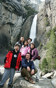 March 2005: Yu Family in front of Lower Yosemite Fall.