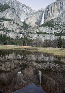January 2005: Upper and Lower Yosemite Falls. View from the valley floor.