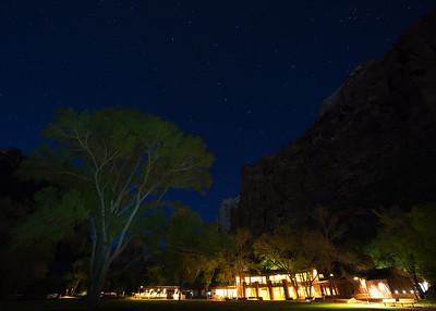 Zion Lodge at night.