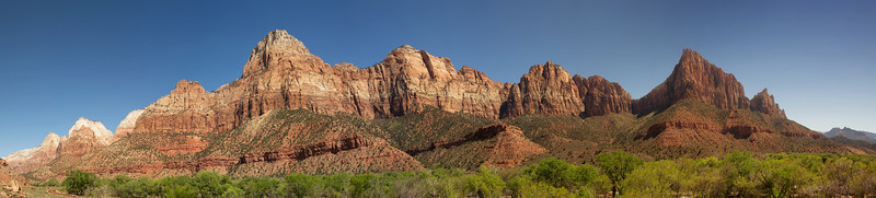 Zion NP Panorama.  The Watchman is on the right