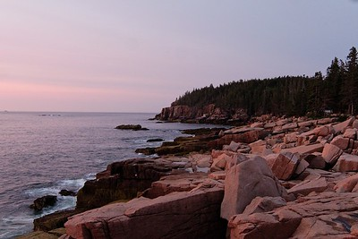 Sunrise over Otter Point from the rocks along Ocean Path.