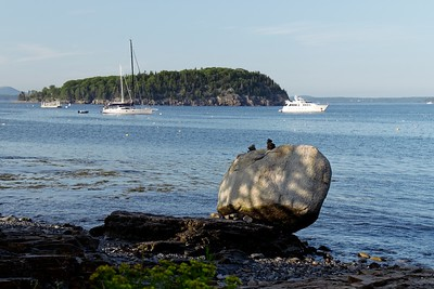 Balance Rock out to Bald Porcupine Island from The Shore Path - Bar Harbor, ME.