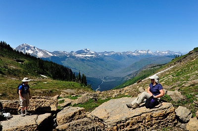 Our lunch spot under Mount Gould overlooking Mount Oberlin and Clements Mountain, Mount Cannon and Heavens Peak.