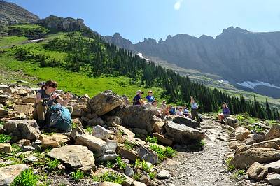 "Taking a break on ""Haystack Pass""."