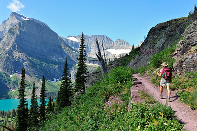Along the trail are views of Mount Gould and The Salamander Glacier.