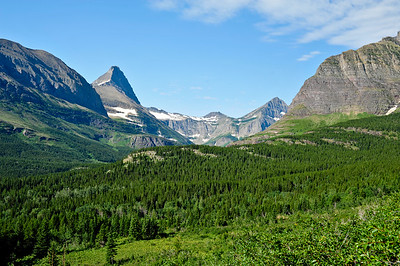 On the Ptarmigan Trail with a view of Mount Grinnell and Swiftcurrent Mtn.