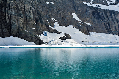 The icy-blue waters of Iceberg Lake.