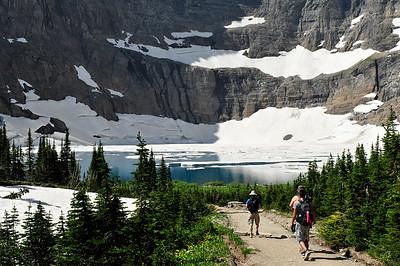 First view of Iceberg Lake. Iceberg Lake Trail. Glacier national Park, Montana.