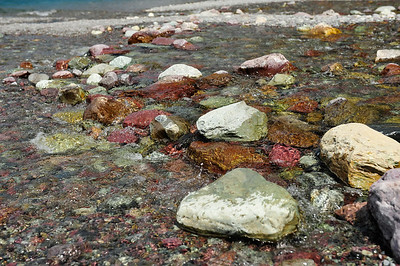 Colorful rocks of Lake McDonald.
