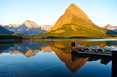 Sunrise over Swiftcurrent Lake.