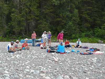 Lunch on a rocky river beach.