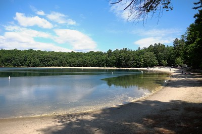 Looking toward the Walden Pond boat house and swimming beach.