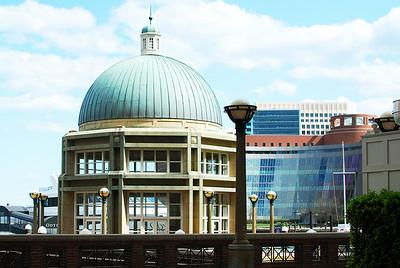 Rowes Wharf Gazebo. Moakley U.S. Courthouse beyond.