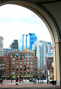 Fosters Rotunda, Rowes Wharf looking to downtown Boston.