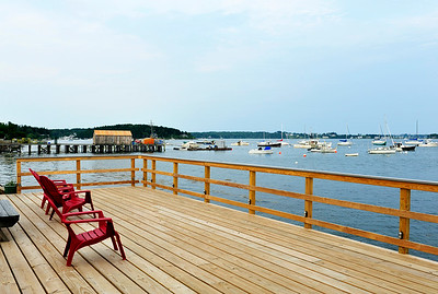 Views of Casco Bay from the dock at the Dolphin Marina.