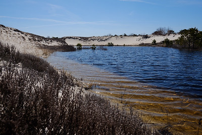 A pool of mineral rich water in the middle of the dunes.