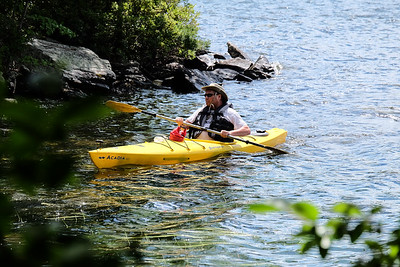 Kayaking around Minute Island, Lake Sunapee.