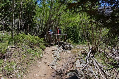 Hiking the North Inlet Trail to Cascade Falls. Rocky Mountain National Park, CO.