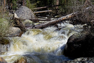 Early summer snow runoff adding to the flow.