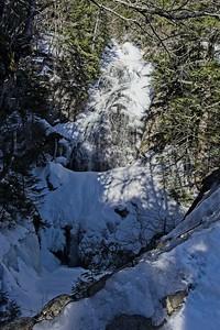 The Ellis River drops 100' over the Crystal Cascade Falls.
