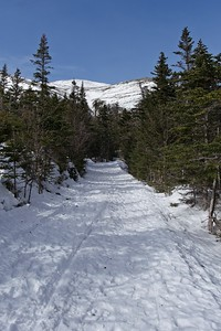 Approaching the Second bridge along the trail and the first view of Tuckerman's Ravine.