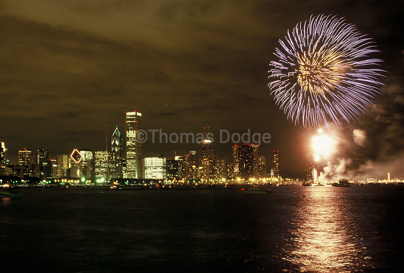 Fourth of July fireworks over Chicago and Lake Michigan.