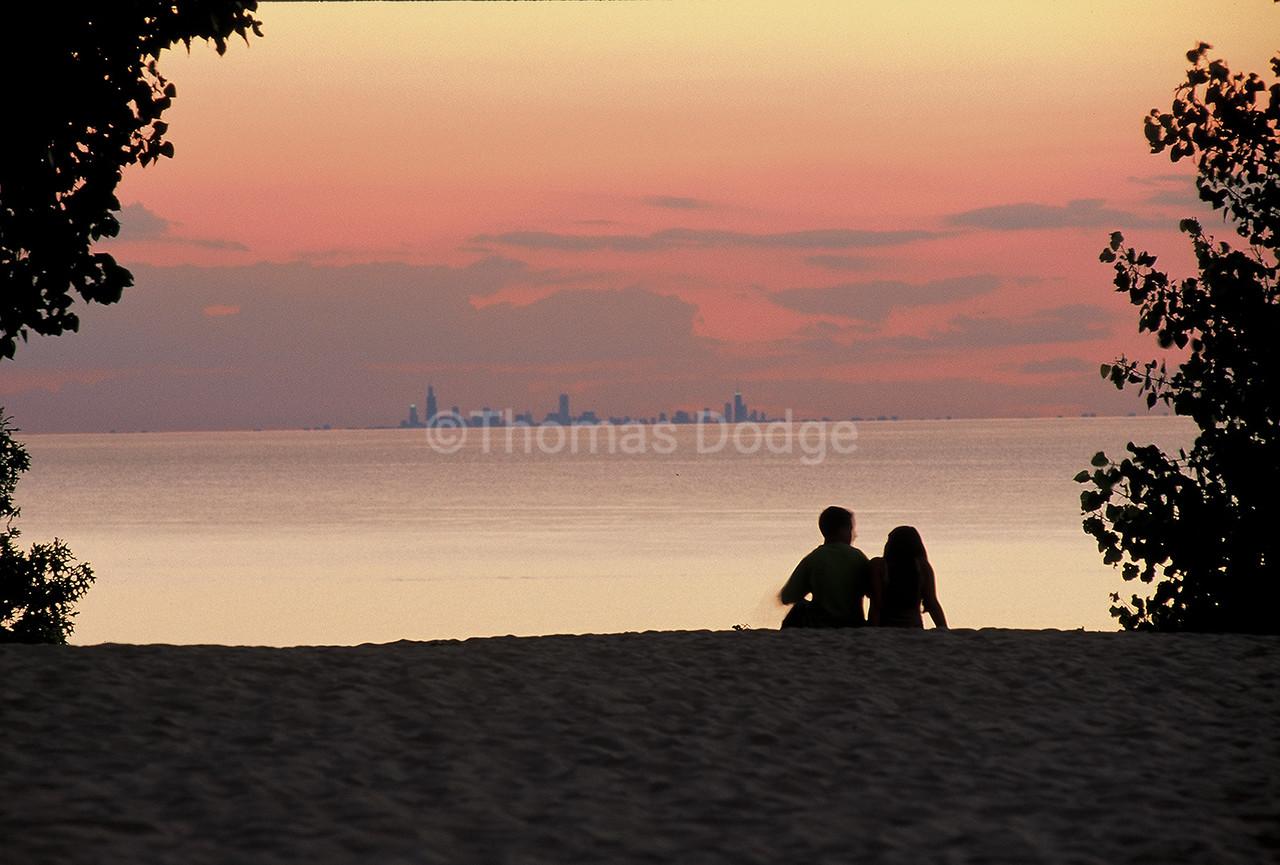 Michigan Sand Dunes with Chicago skyline across Lake Michigan.