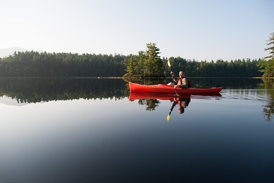 Bearcamp Pond. The light was good for photographs but merciless for the actual paddling.