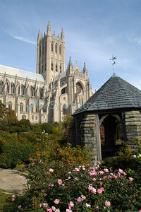 Washington National Cathedral from the Bishops Garden.