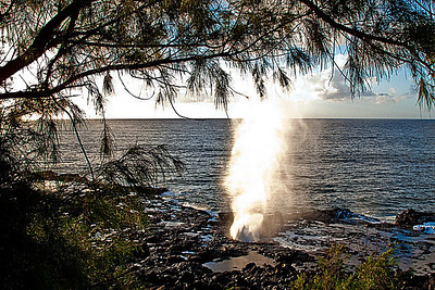 Spouting Horn - Wave action forces water up through opening in the lava.