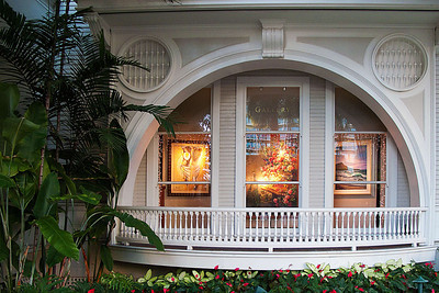Window at the Moana Surf Rider Hotel decorated for Christmas