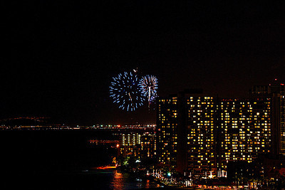 Each Friday night the Hilton Hotel complex at the far end of Waikiki Beach has a fireworks display.  This year Christmas Day was on a Friday.