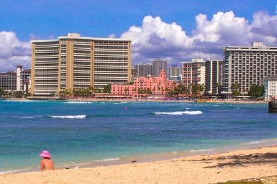 Royal Hawaiian Hotel (pink building)  Outrigger on the Beach on left - Westin Moana Surfrider on right
