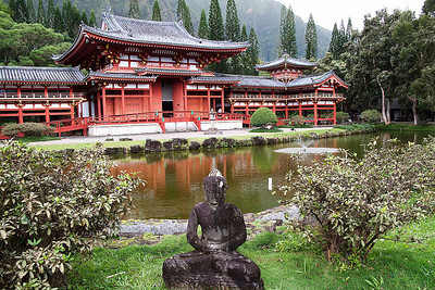Byodo-In Temple in the Valley of the Temples Cemetary.  Built in 1968 to commemorate the 100th arrival of the first Japanese immigrants to Hawaii.
