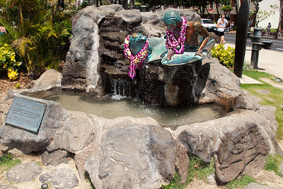 One of many sculptures along Waikiki Beach