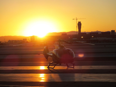 Early morning helicopter flight to the Grand Canyon...