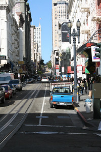Feb. 18/08 - Looking back up Powell St. (from Ellis) after the sun came out, San Francisco