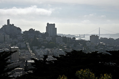 """View of Lombard Street (""""America's crookedest street"""") and Golden Gate Bridge"""