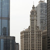 The pretty cool Wrigley building seems tiny next to its modern neighbors (the Trump tower on the left).
