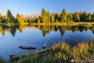 After sunrise in the Grand Teton NP from Schwabacher Landing