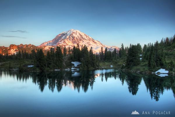 Mt. Rainier and Eunice Lake at sunset