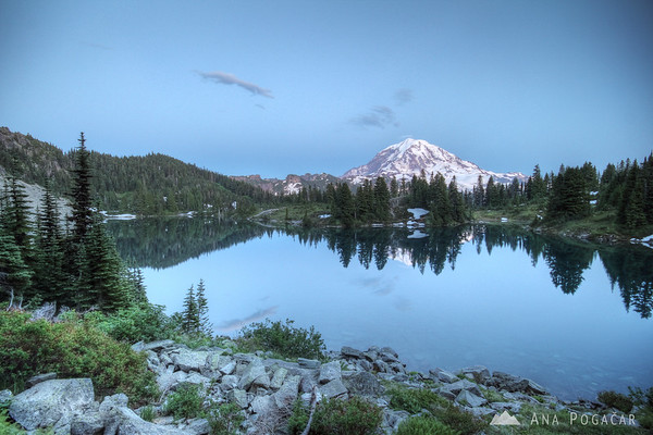 Mt. Rainier and Eunice Lake after sunset