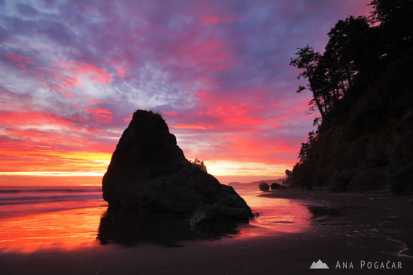 Crazy sunset at Ruby Beach