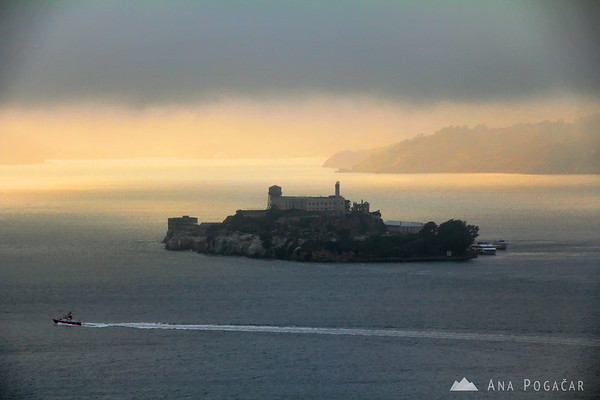 Alcatraz from the Telegraph Hill before sunset