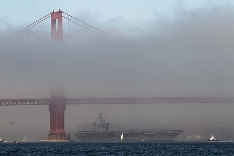 USA 2011 - San Francisco Fleet Week - Ship Parade<br /> Golden Gate Bridge - USS Carl Vinson (CVN 70)